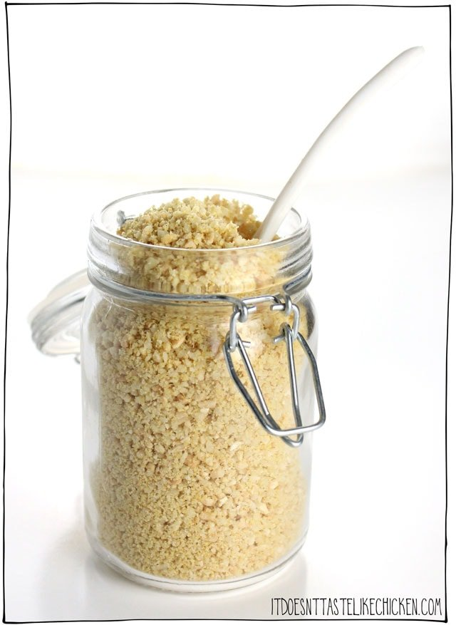 Parmegan (Vegan Parmesan). This 4 ingredient, 5 minute recipe is the perfect topping for any pasta, soup, salad, or anywhere you would use parmesan. Keep a jar on hand at all times! Dairy-free, gluten-free, vegetarian. #itdoesnttastelikechicken