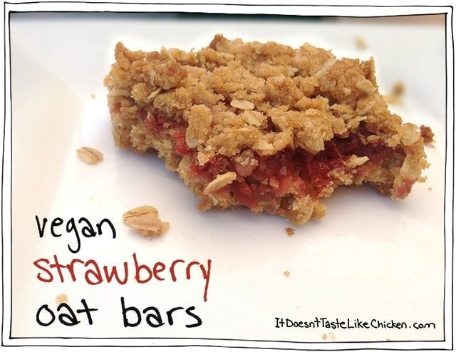 Vegan Strawberry Oat Bars are perfect paired with coffee or tea for breakfast or dessert. #itdoesnttastelikechicken