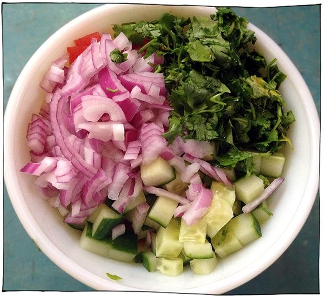 watermelon cucumber onion cilantro