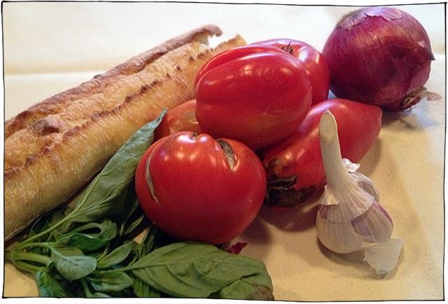 tomato bread salad ingrediebts