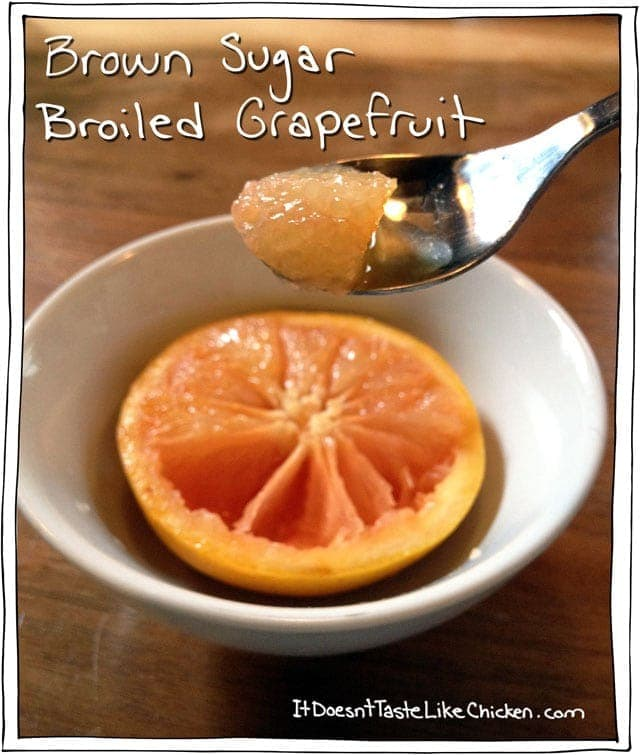 Quick and Easy Vegan Breakfast - Brown Sugar Broiled Grapefruit