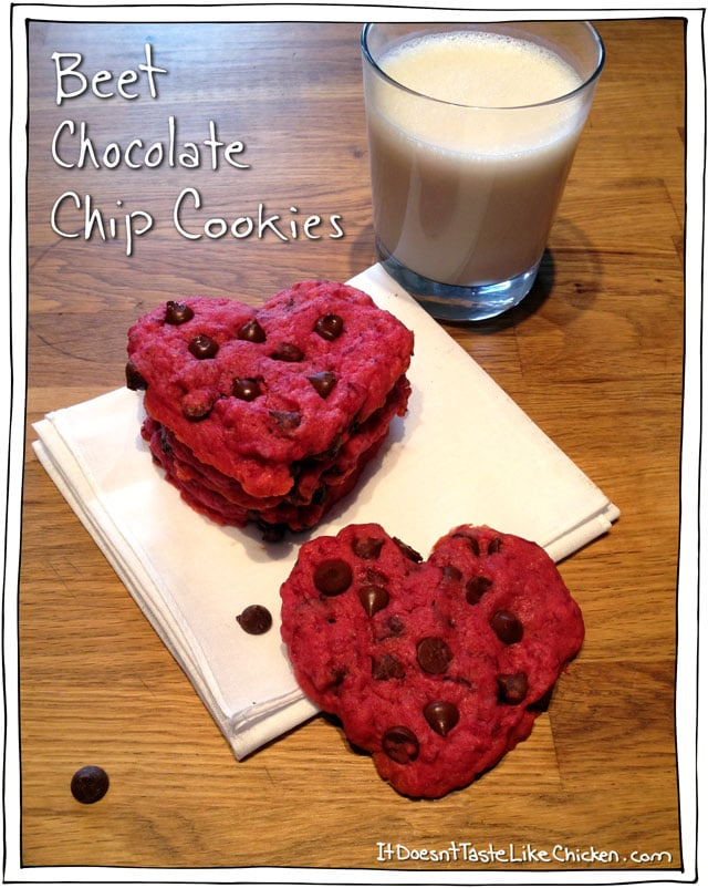 Beet Chocolate Chip Cookies - Easy Valentines Day Recipe, and its vegan! #itdoesnttastelikechicken