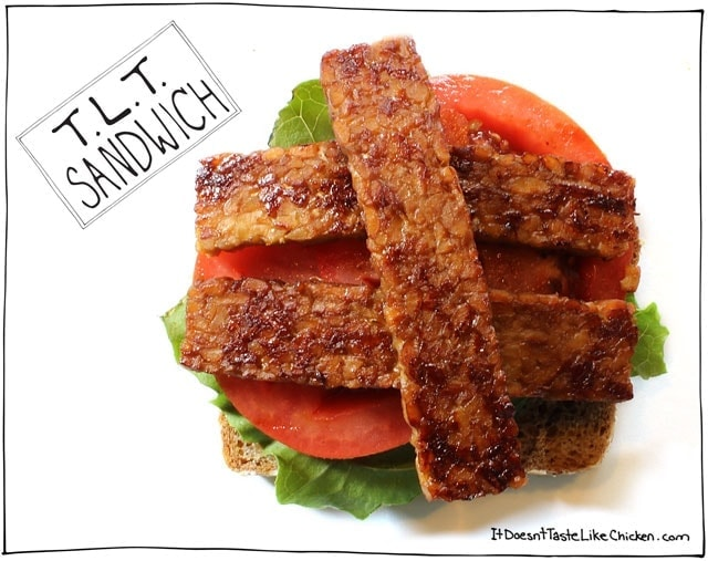 T.L.T. Sandwich (Tempeh, Lettuce, and Tomato) plus 4 other vegan sandwiches. 1 for every day of the work or school week! #itdoesnttastelikechicken