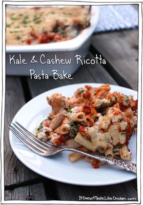 Kale & Cashew Ricotta Pasta Bake