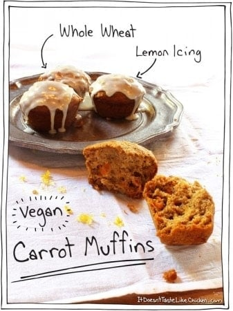 Whole Wheat Vegan Carrot Muffins with Lemon Icing