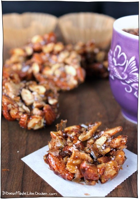 5 Ingredients + 10 minutes to make nutty, salty, mapley clusters = YES PLEASE! Vegan and Gluten Free. Salted Caramel Mape Nut Clusters for the win. #itdoesnttastelikechicken