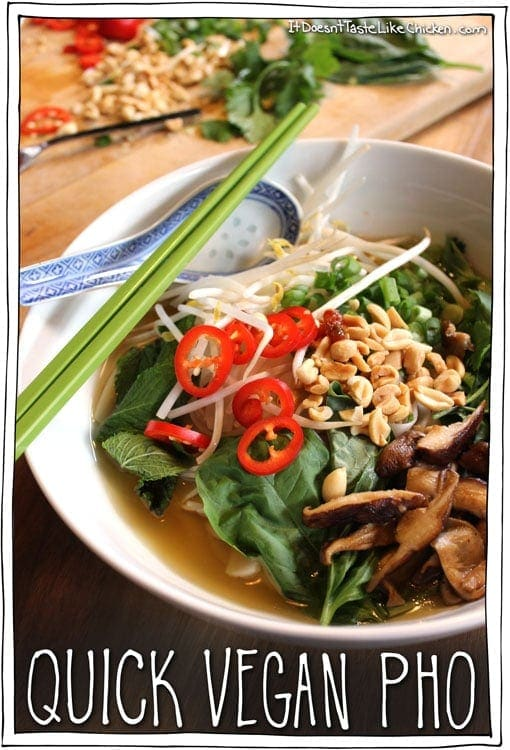 Quick vegan pho. A total bowl of health. This baby will make colds run away in horror. #itdoesnttastelikechicken