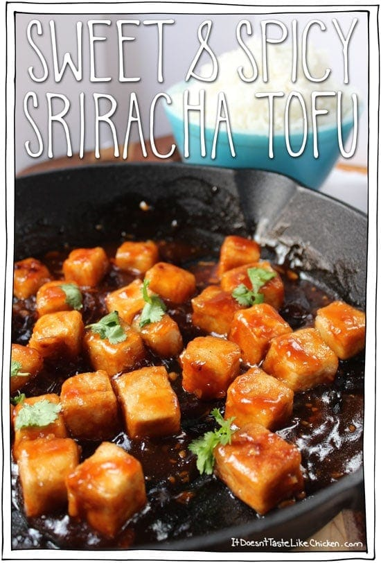 Sweet & Spicy Sriracha Tofu! One of the most popular vegan recipes of 2015!