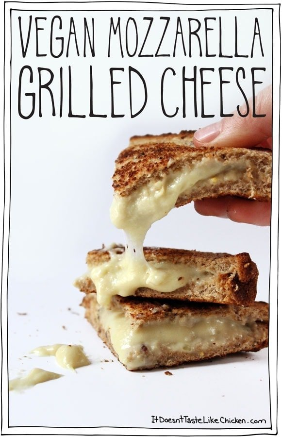 Vegan Mozzarella Grilled Cheese! One of the most popular vegan recipes of 2015!