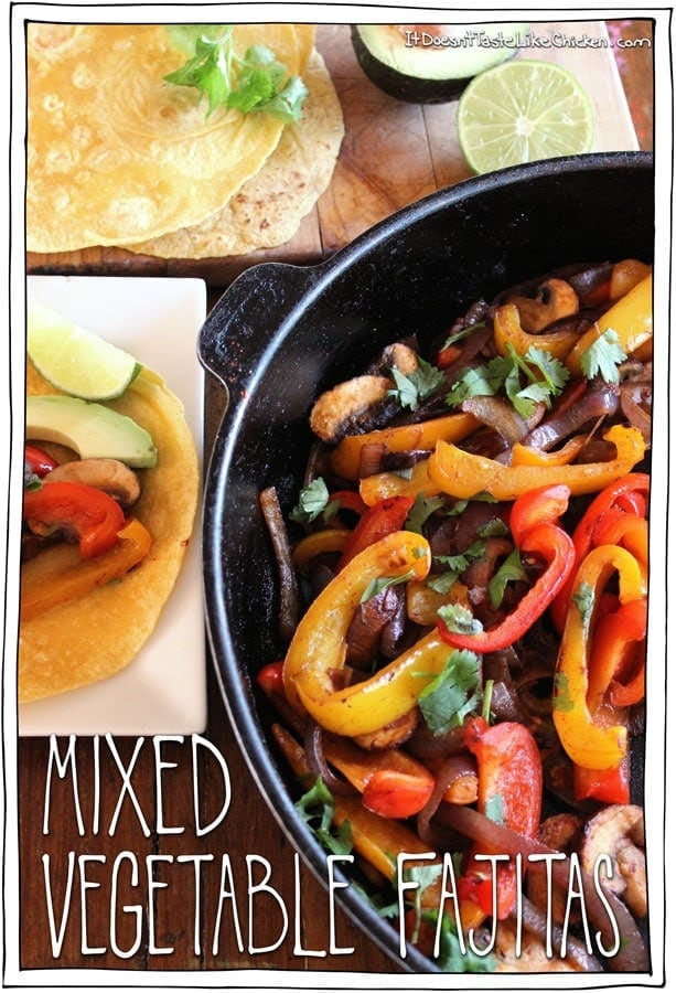 Mixed Vegetable Fajitas!! Have a fajita party in your own home. This quick and easy vegan fajita recipe can be customized however you like with endless topping options. Serve the sizzling skillet directly to the table with all the sides and everyone can make their own fajitas to their own tastes preferences. A great summer meal for family or dinner parties. #itdoesnttastelikechicken #veganrecipe #fajitas