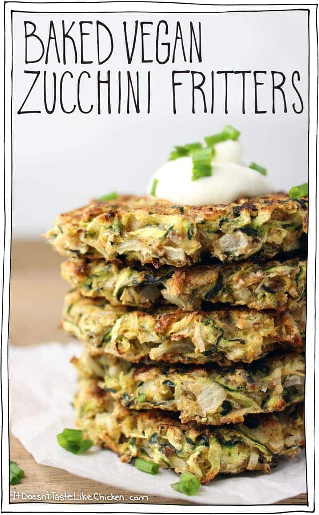 Baked Vegan Zucchini Fritters. One of the most popular vegan recipes of 2015!
