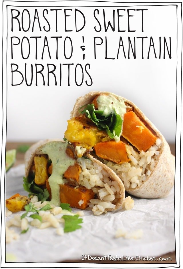Roasted Sweet Potato & Plantain Burritos