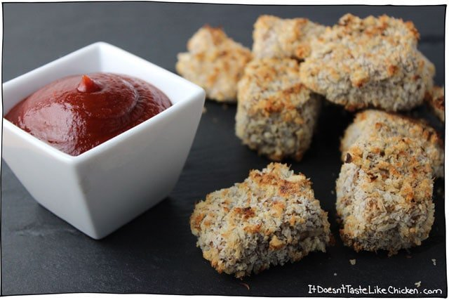 Crispy Coconut Eggplant Nuggets! Crispy, panko and coconut on the outside, soft and creamy on the inside. The eggplant looses all of those mushy qualities that I hate, and becomes this gorgeous, light, munchy snack. Can be baked or fried. Vegan and oil free. #itdoesnttastelikechicken