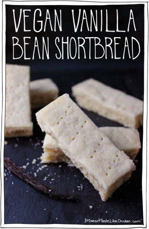 Vegan Vanilla Bean Shortbread, just 4 ingredients! So simple, buttery, fall-apart, melt in your mouth goodness. #itdoesnttastelikechicken