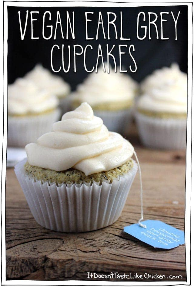 Vegan Earl Grey Cupcakes. A perfect treat for Mothers Day, any special occasion, or just because you are in a cupcake mood (because who needs an excuse to eat a cupcake). #itdoesnttastelikechicken