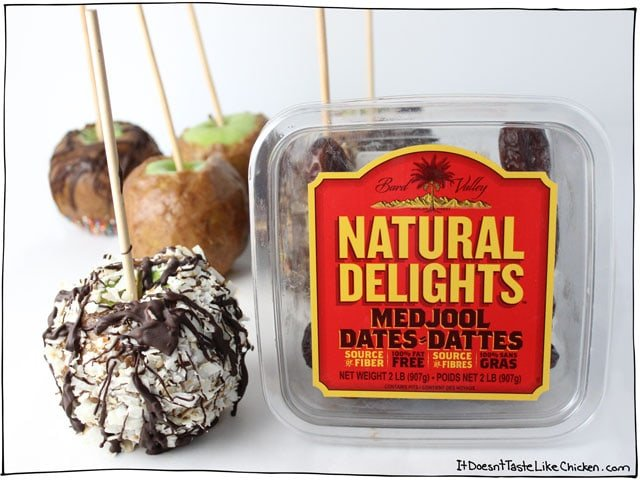 Medjool Date Caramel Apples! The easiest way to make caramel apples ever! No candy thermometers, no working with hot liquid sugar. This is a safe, easy, and HEALTHY way to make a caramel apple. Vegan, dairy free, no bake. #itdoesnttastelikechicken
