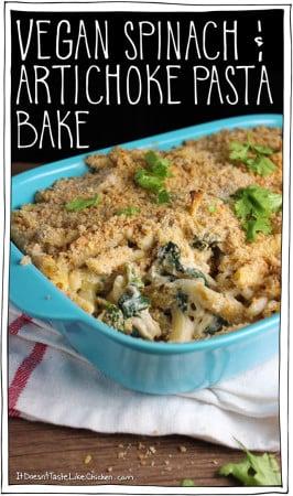 Vegan Spinach & Artichoke Pasta Bake