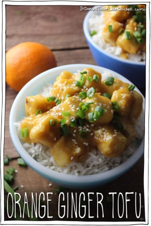 Orange Ginger Tofu. Sweet, sticky, ginger and orangey, kid-friendly. A healthier alternative to Chinese Orange Chicken. Vegan, gluten free, vegetarian.