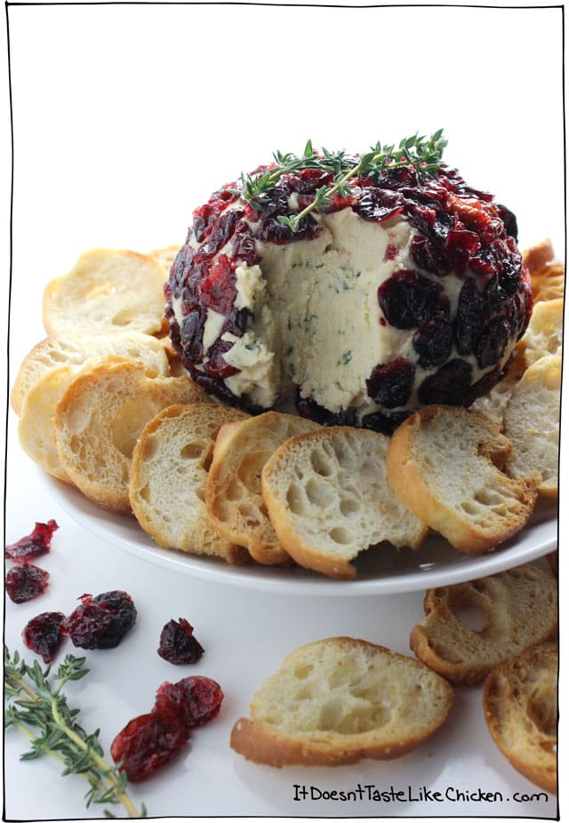 Cranberry & Thyme Vegan Cheese Ball. This is the BEST VEGAN CHEESE ever!! Just 9 ingredients and so easy to make. So smooth, creamy, and flavourful everyone will love it. Perfect appetizer for any party. #itdoesnttastelikechicken #veganrecipe #vegan #dairyfree