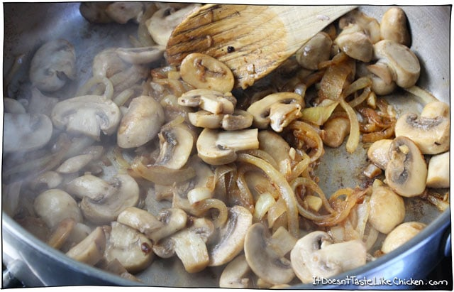in the mushrooms and garlic and continue to sauté until the mushrooms ...