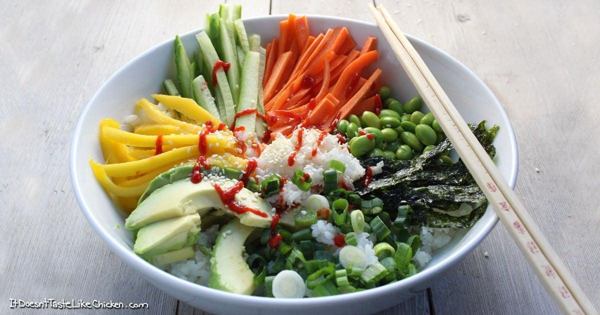 Vegan Sushi Bowl • it doesn't taste like chicken