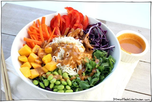 Rainbow Shirataki Bowl with Peanut Lime Sauce! This Buddha noodle bowl is a healthy, colorful, delicious meal! So easy to prepare. Perfect for a vegan lunch, or dinner. Great served hot or cold. Gluten free, plant based. #itdoesnttastelikechicken