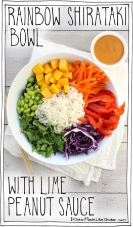 Rainbow Shirataki Bowl with Peanut Lime Sauce