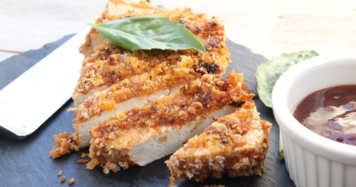 Crispy Tofu with Sweet Chili Sauce. Crunchy Crispy Breaded T..
