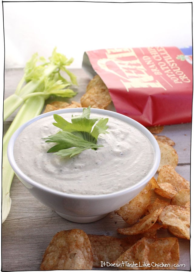 Creamy Cashew Cool Celery Dip! This dip takes just 5 minutes to make and is insanely creamy without any dairy! Like cool ranch but with the added zing of celery salt. Vegan, oil free, gluten free, quick and easy recipe. #itdoesnttastelikechicken