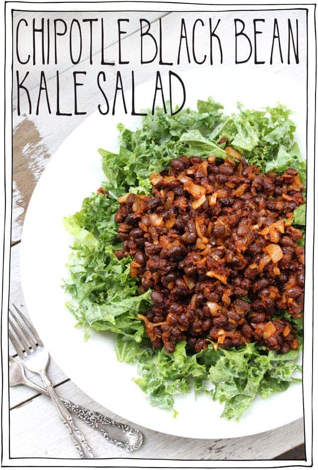 Hearty, spicy, bursting with a flavour bomb of beans, topped on hearty kale, and then drizzled with a little Chipotle Lime Dressing this is my new favourite salad. It's like a fiesta in your mouth. Vegan and gluten free #itdoesnttastelikechicken