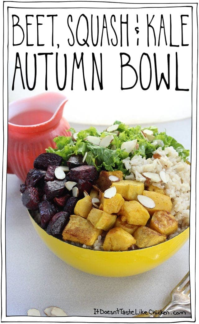 Beet, Squash & Kale Autumn Bowl! Sweet roasted beets, tender squash, and zesty kale on a bed of brown rice, all drizzled with maple mustard dressing. Vegan and gluten free Buddha bowl. #itdoesnttastelikechicken