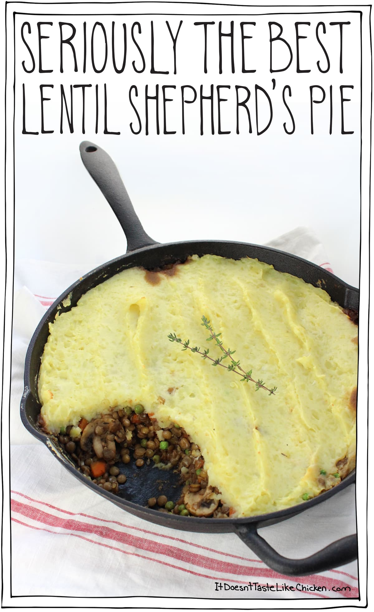 Seriously the Best Lentil Shepherd's Pie. Perfect for the holidays or a hearty weekend meal. The garlic mashed potatoes take this from ordinary to extraordinary! Can be made ahead of time and reheated. Vegetarian, vegan, gluten free. #itdoesnttastelikechicken