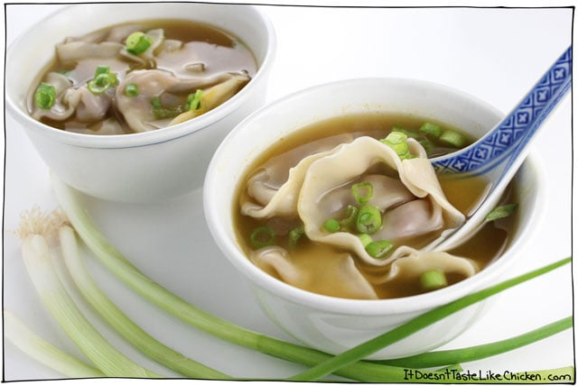 Vegan Wonton Soup! Easy and so yummy. The wontons are stuffed with slightly sweet, soy sauce, ginger, garlic, and rice vinegar marinated mushrooms and chopped walnuts. The texture combo is amazing. Vegetarian, egg-free. #itdoesnttastelikechicken