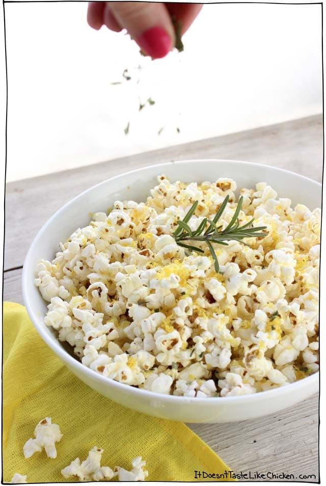 Rosemary & Lemon Zest Popcorn! A super easy upgrade to the snack you already love. Movie night just got even better! Dairy-free, vegan, vegetarian, gluten-free. #itdoesnttastelikechicken