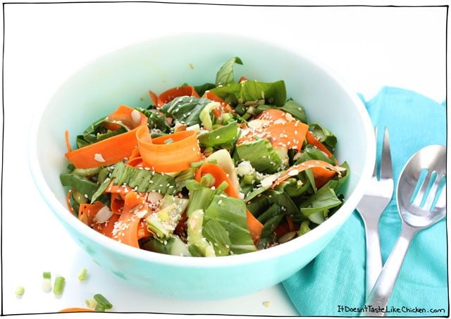 Fall in love with this Sesame Bok Choy & Carrot Salad. A perfect healthy side dish to any Asian-inspired meal. It gets better the longer it sits, so it's perfect for potlucks too! #itdoesnttastelikechicken