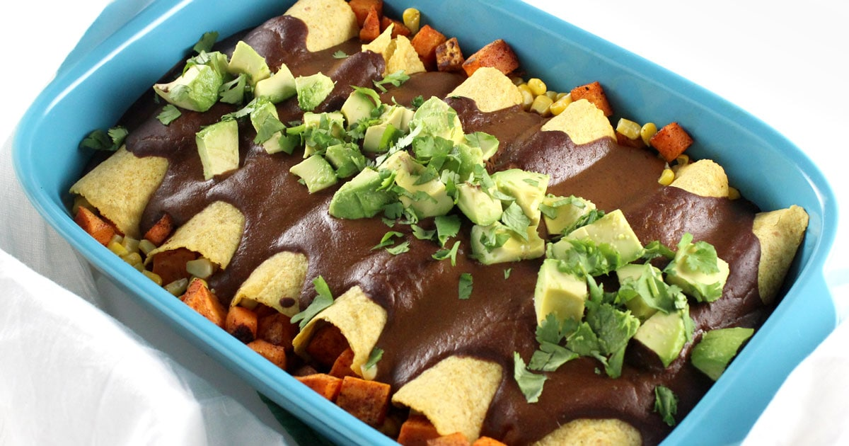 Sweet Potato & Corn Enchiladas with Mole Sauce • it doesn't taste ...