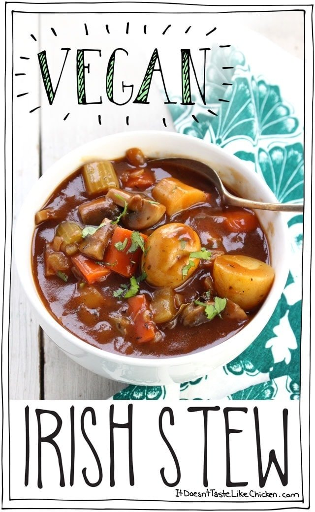 Vegan Irish Stew! Perfect for St. Patrick's Day. Hearty vegetables in a rich, earthy, thick stout beer broth. It's a stick to your ribs kinda stew! #itdoesnttastelikechicken