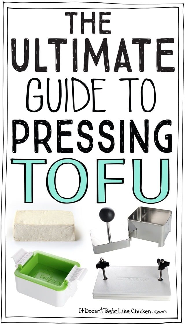 The Ultimate Guide to Pressing Tofu! The how to's and why's of pressing tofu, plus I compare store-bought tofu presses! #itdoesnttastelikechicken