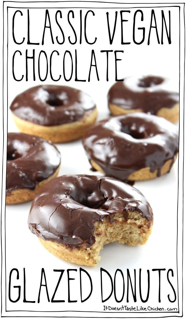 Classic Vegan Chocolate Glazed Donuts