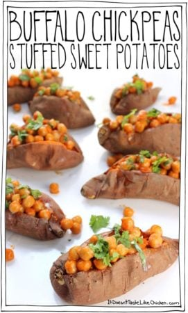 Buffalo Chickpeas Stuffed Sweet Potatoes • it doesn't taste like ...