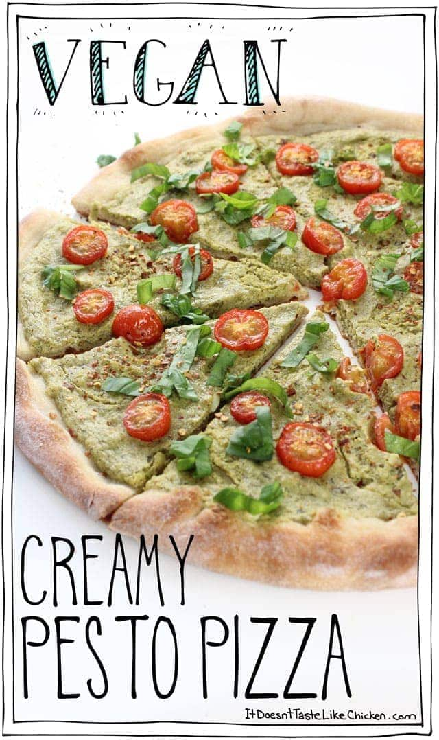 Vegan Creamy Pesto Pizza! It takes just 5 minutes to whip up this creamy, rich, basil bursting, zesty, garlic, peppery sauce. Top with tomatoes and bake. Yum! Dairy-free. #itdoesnttastelikechicken