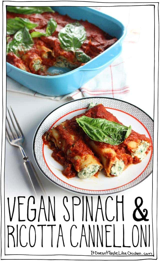 Fresh spinach and basil mixed with easy to whip up dairy-free ricotta, stuffed into cannelloni pasta, and coated in tomato sauce. Vegan Spinach & Ricotta Cannelloni is so delicious no one will even know it's vegan! #itdoesnttastelikechicken