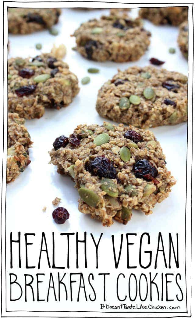 Healthy Vegan Breakfast Cookies are a one bowl, easy to whip up snack that's the perfect, easy treat for the on the go breakfast. #itdoesnttastelikechicken