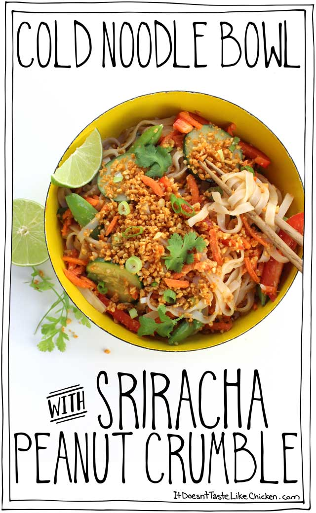 Cold Noodle Bowl with Sriracha Peanut Crumble! The perfect easy, summer dinner. Hoisin and lime dressed rice noodles, fresh, raw, crunchy veggies, all topped with a flavour-packed, roasted peanut crumble with hints of Sriracha spice. Vegan, vegetarian, dairy free. #itdoesnttastelikechicken