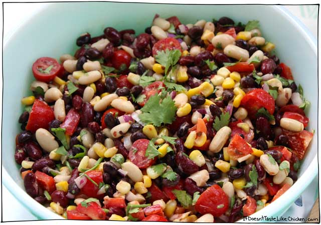 Creamy Chipotle Lime Bean Salad! This flavor-packed vegan dish takes just 15 minutes to make and can be made ahead of time. Perfect for potlucks and parties! Dairy Free, gluten free, vegetarian. #itdoesnttastelikechicken