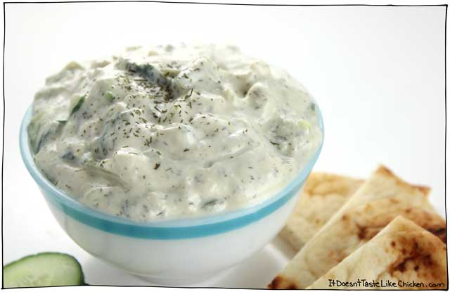This quick and easy vegan tzatziki is made using easy to find ingredients and takes just 10 minutes to make. Perfect for dairy-free Greek recipes. #itdoesnttastelikechicken