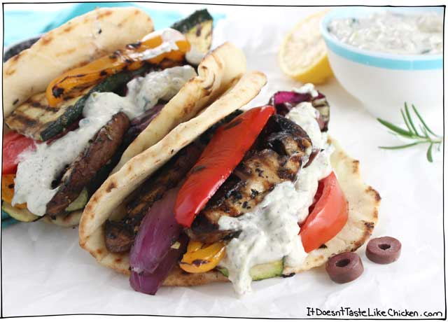 Vegan Grilled Veggie Gyros! Easy recipe for Greek styled dinner. Just marinate vegetables, grill, and assemble the sandwiches to taste. Dairy-free, vegetarian. #itdoesnttastelikechicken