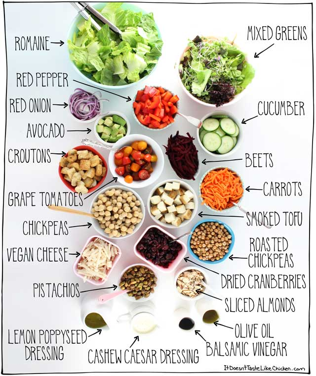 How to Make an at Home Salad Bar! This easy guide shows you how to have a vegan salad bar at home. Perfect for picky eaters, BBQ's, or dinner parties. #itdoesnttastelikechicken