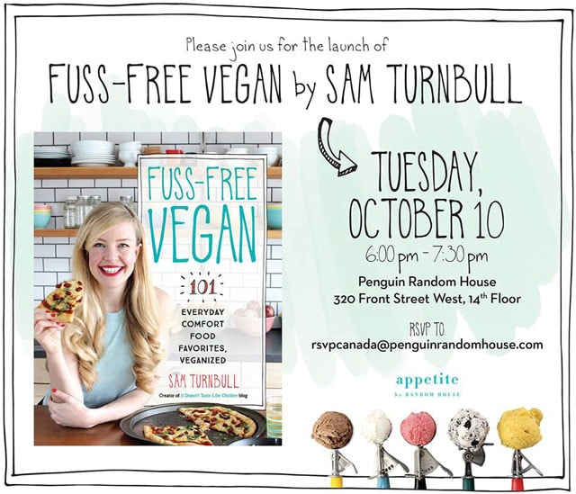 In less than a month my book will be released to the public and I am SO crazy excited about it! Join me (Sam Turnbull) on tour for Fuss-Free Vegan cookbook!