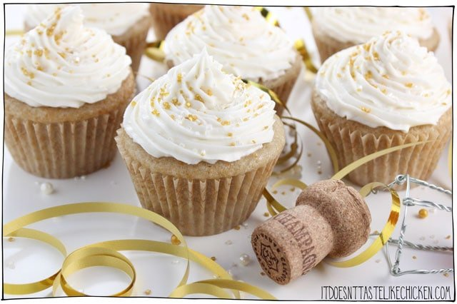 Vegan Champagne Cupcakes are easy to make but so elegant. Perfect for any celebration such as New Year's Eve or birthdays! Light, fluffy, and sweet with a hint of champagne flavour. Pop that champagne! Dairy free, egg free. #itdoesnttastelikechicken